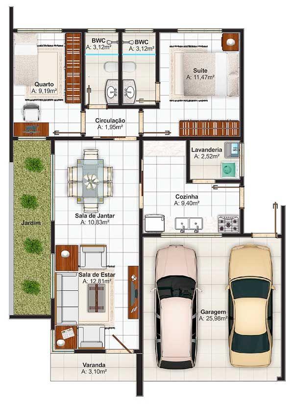 Plano de moderna casa con estilo mediterráneo Planta casas