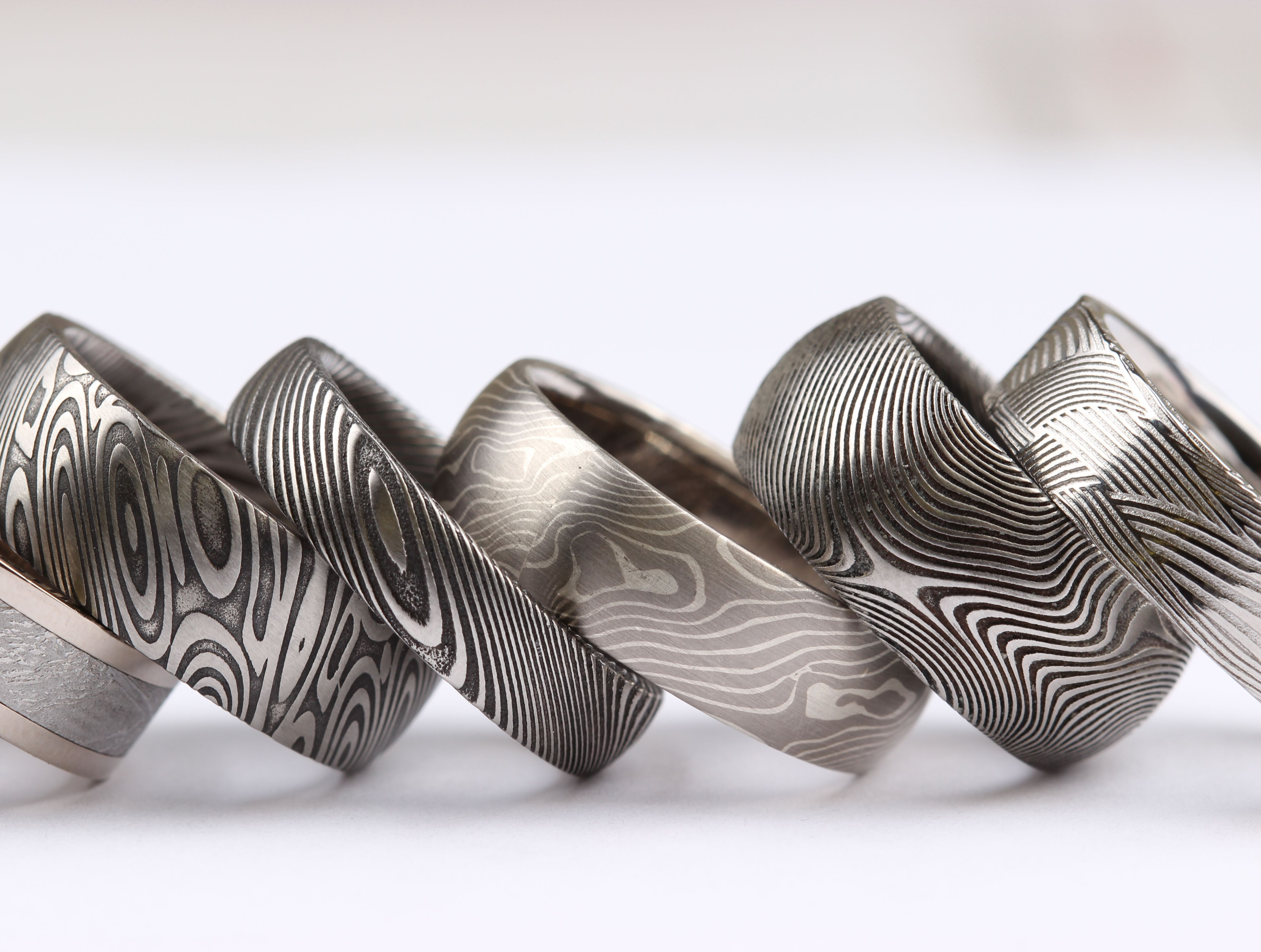 damascus steel, mokume gane and meteorite bands.chris ploof