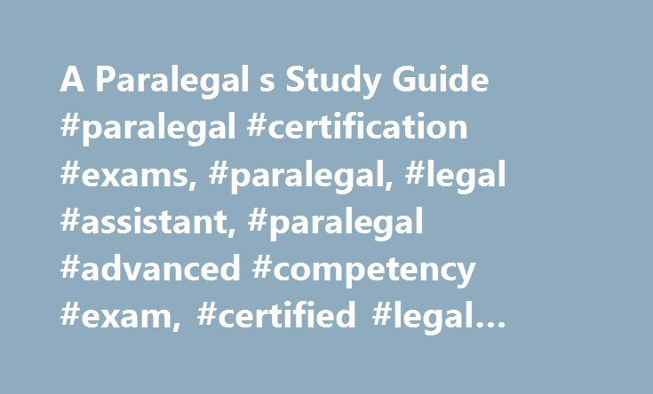 A Paralegal S Study Guide Paralegal Certification Exams