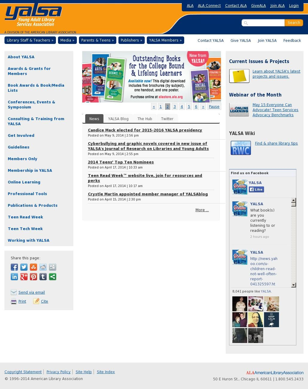 Young Adult Library Services Association (YALSA) webpage - The overlord of  professional resources for