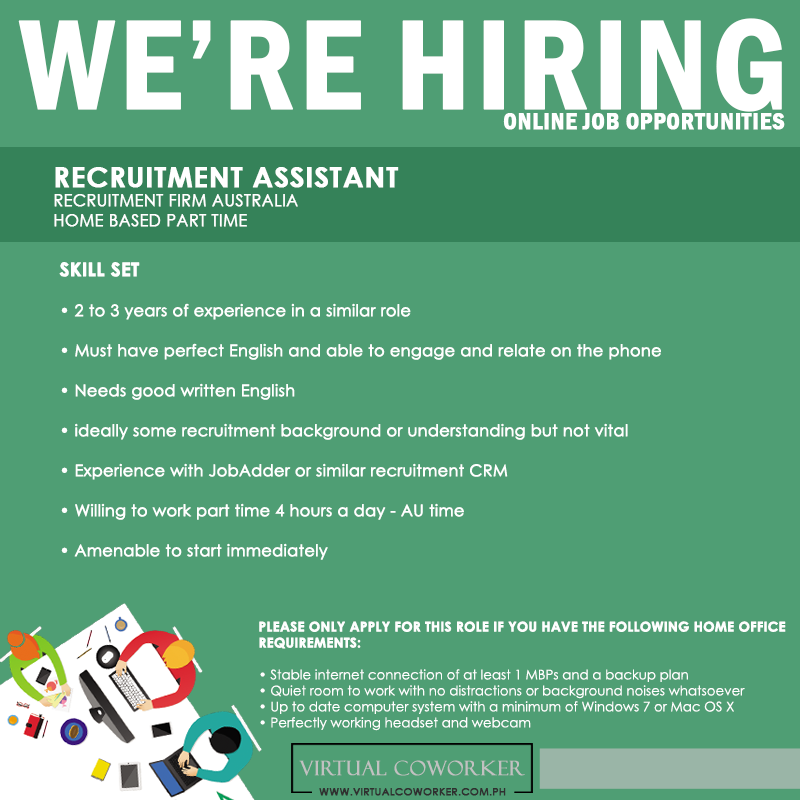 We're HIRING Home Based Part Time Recruitment Assistant