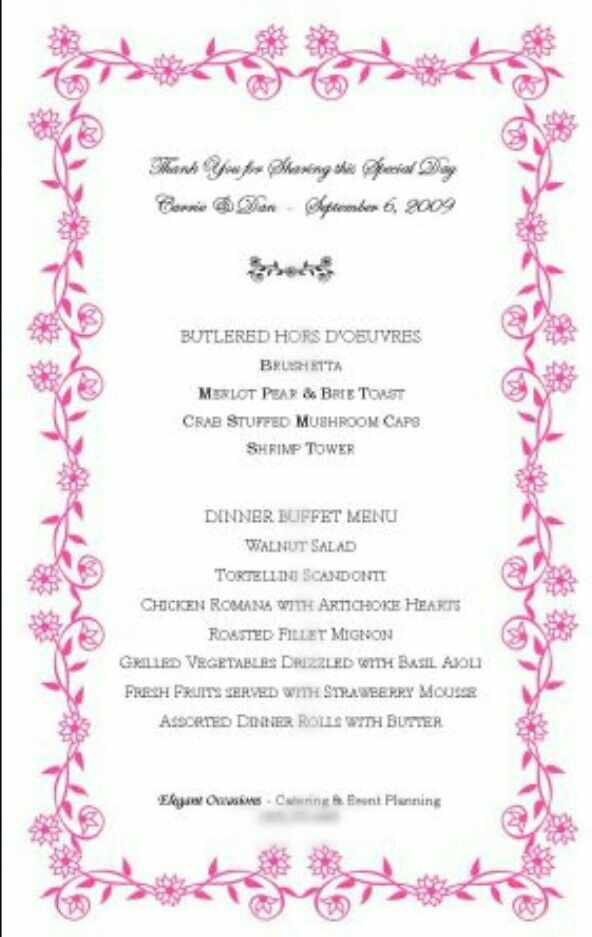 Menu For A Wedding Reception With A Floral Border Created From The