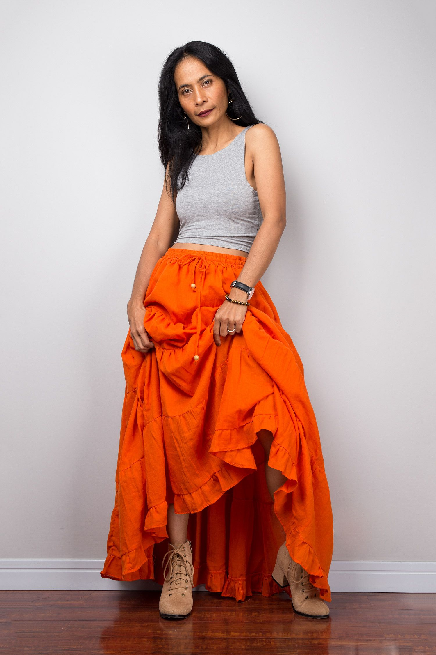 1508d7f637 Tiered orange peasant maxi skirt in 2019 | Nuichan Designs | Skirts ...