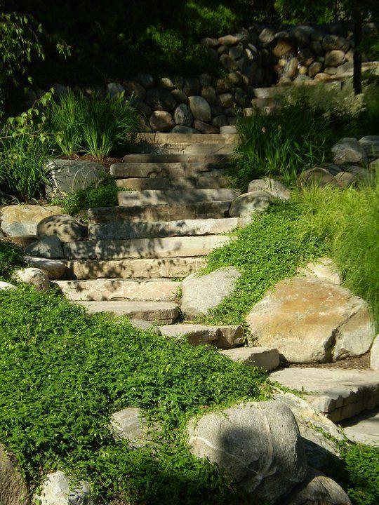 Stone steps JARDINERIA Pinterest Jardinería, Escalera y Jardín