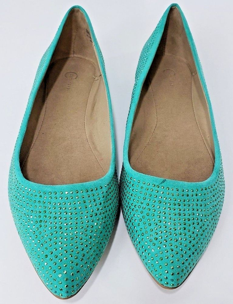 a1254ec6d20 Cato Women s Size 8 M Green Rhinestone Covered Pointed Toe Ballet Flat Shoes  NWT  Cato  BalletFlats  Any