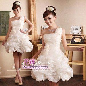 花嫁 二次会ミニドレス 花嫁ウェディングドレス 結婚式 ドレス 披露宴ドレス パーティードレス カラー ミニドレス