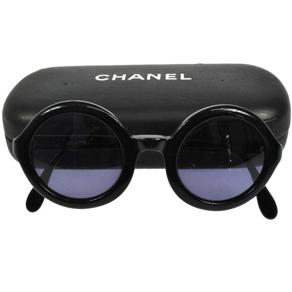 595f59db892e Pre-owned Ultra Rare Auth Chanel Cc Round Frame Vintage Sunglasses... (65  320 UAH) ❤ liked on Polyvore featuring accessories