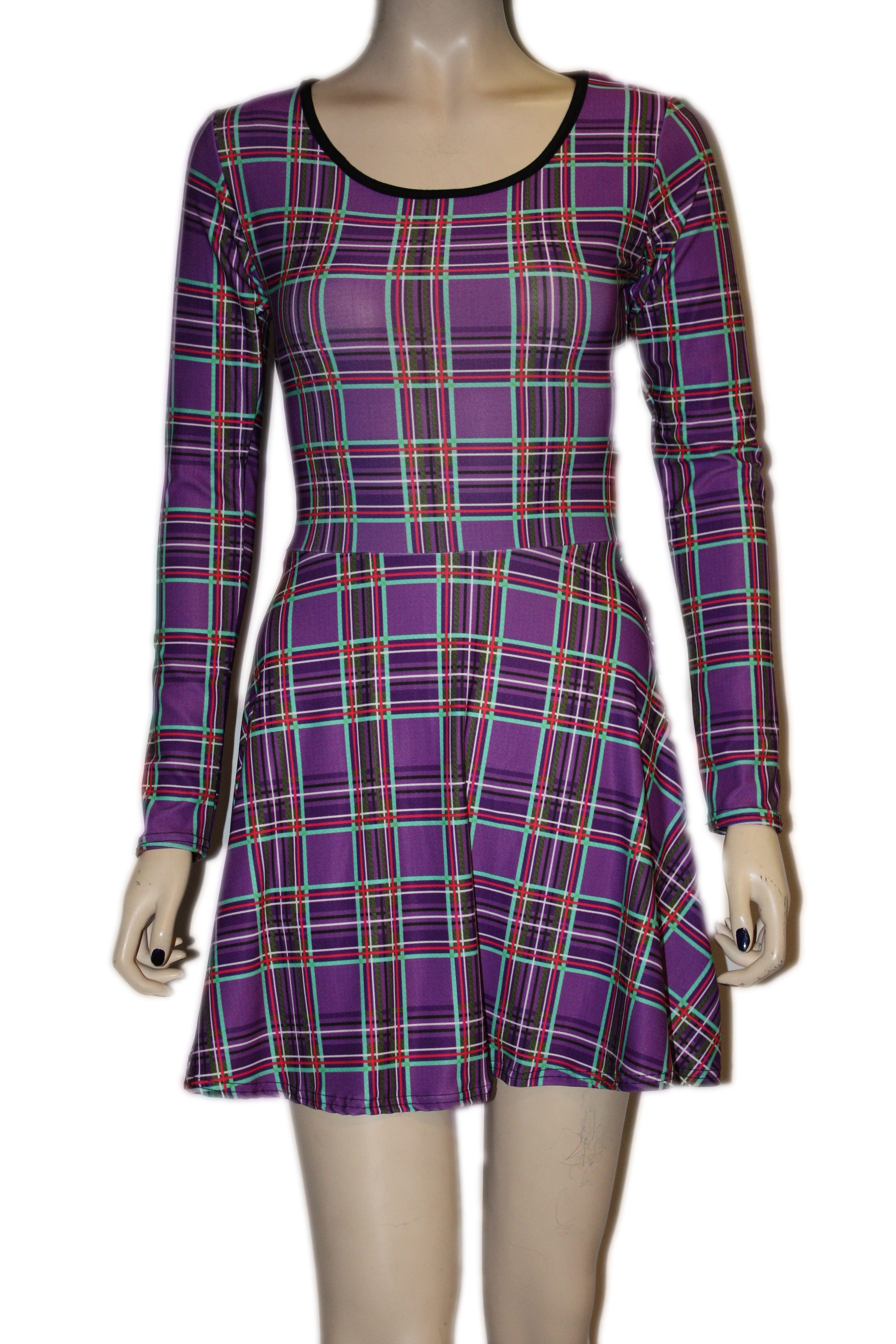 c7ff2abbbf0a Purple Tartan printed designer long sleeves Skater Dress ...