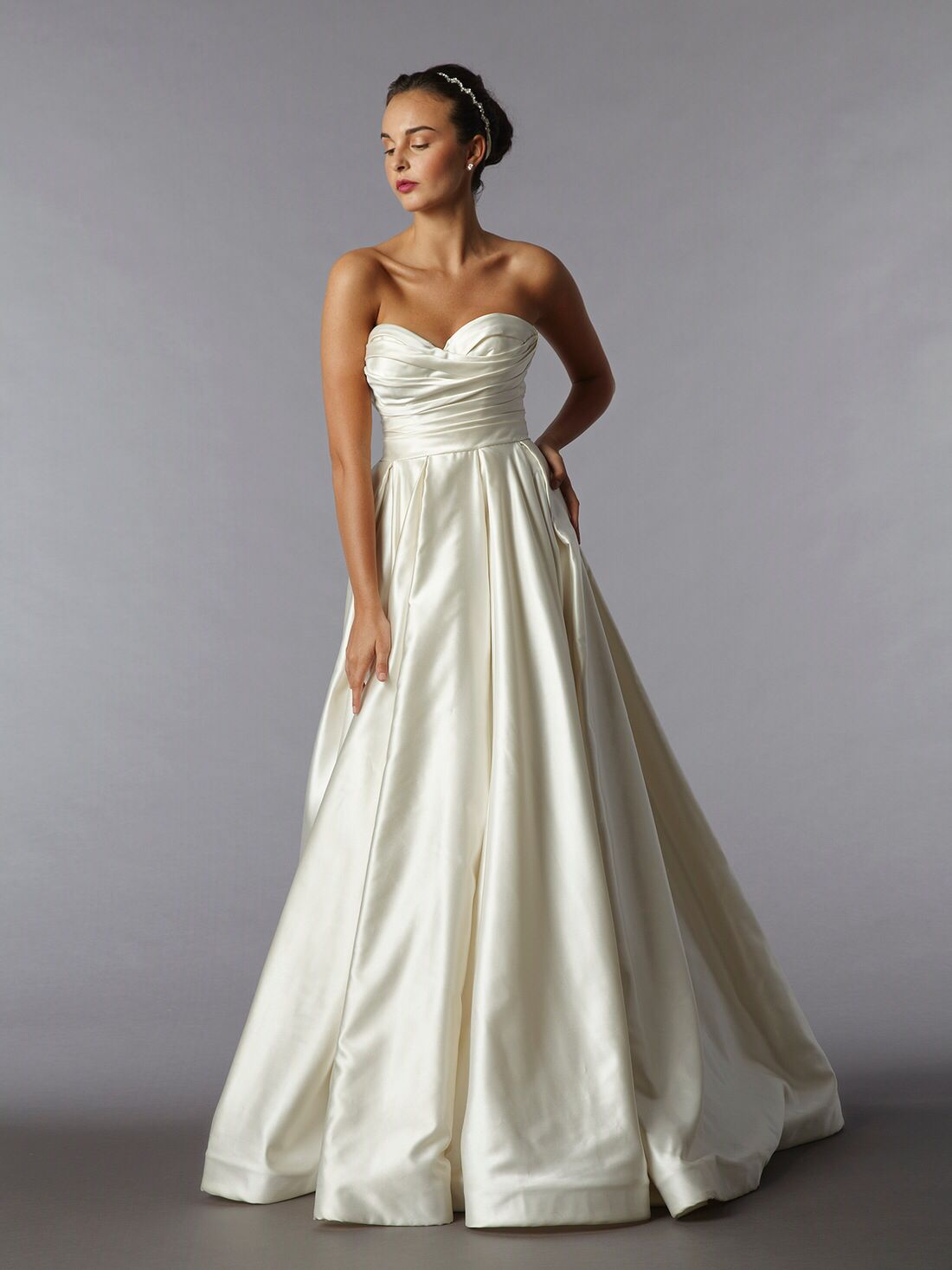Pnina Tornai strapless a-line gown in silk satin