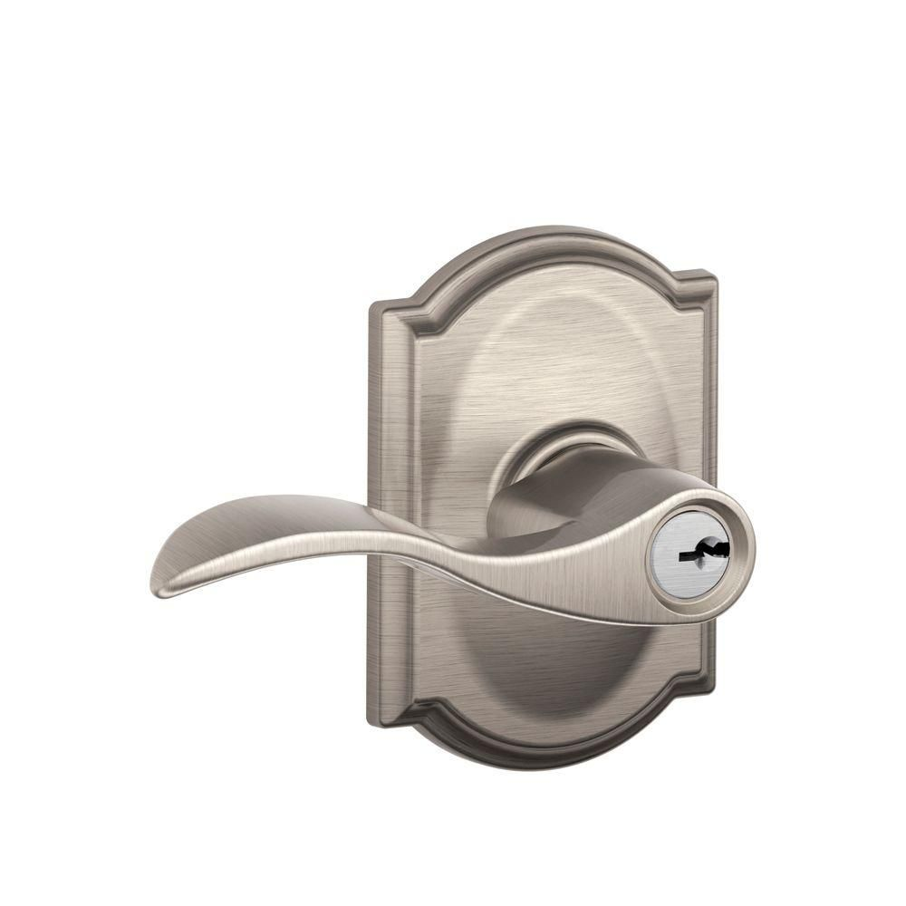 Camelot Collection Accent Satin Nickel Keyed Entry Lever