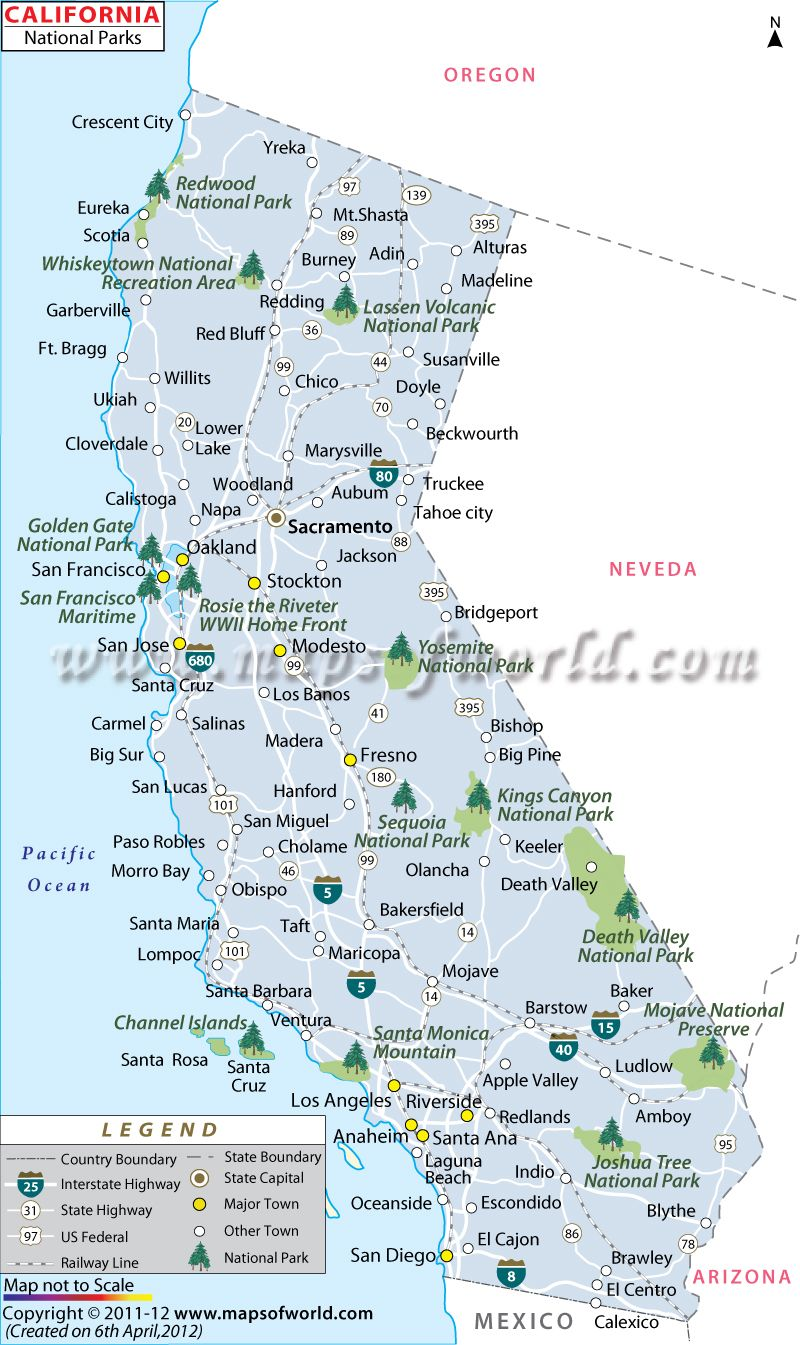California National Parks Map, List of National Pa