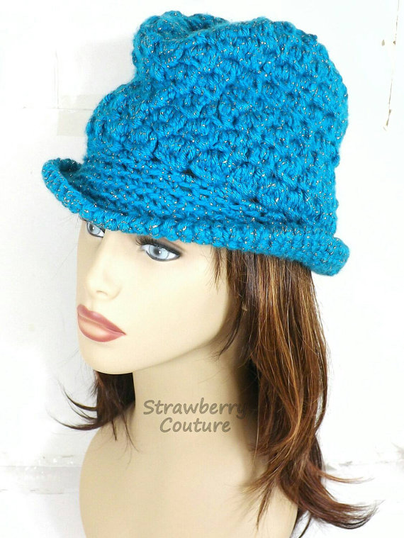 Turquoise Crochet Hat Womens Hat Womens Crochet Hat Crochet Brim Hat Fedora Hat Turquoise Sparkle Turquoise Hat ANDY Crochet Fedora Hat by strawberrycouture by #strawberrycouture on #Etsy