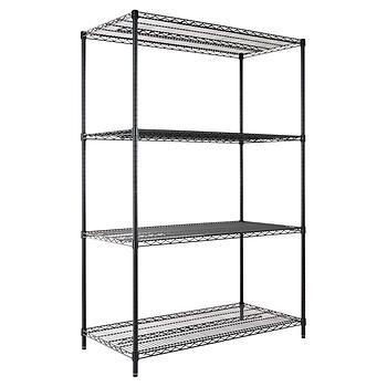 Alera 4 Shelf Wire Shelving Rack 48 X 24 X 72 Nsf Black