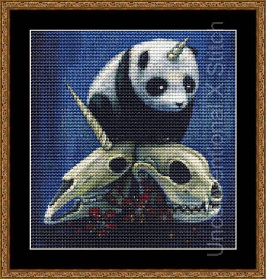 Panda Unicorn Skull Cross Stitch Pattern Licensed Megan Majewski The Birth Of Pandacron Mini By Unconv Cross Stitch Cross Stitch Patterns Stitch Patterns