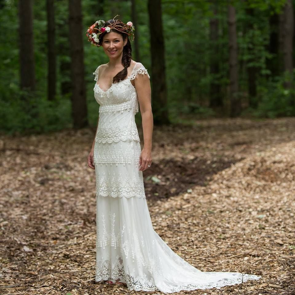 Claire Pettibone Wedding Dress: Claire Pettibone Kristene With Floral Halo Crown By Modern