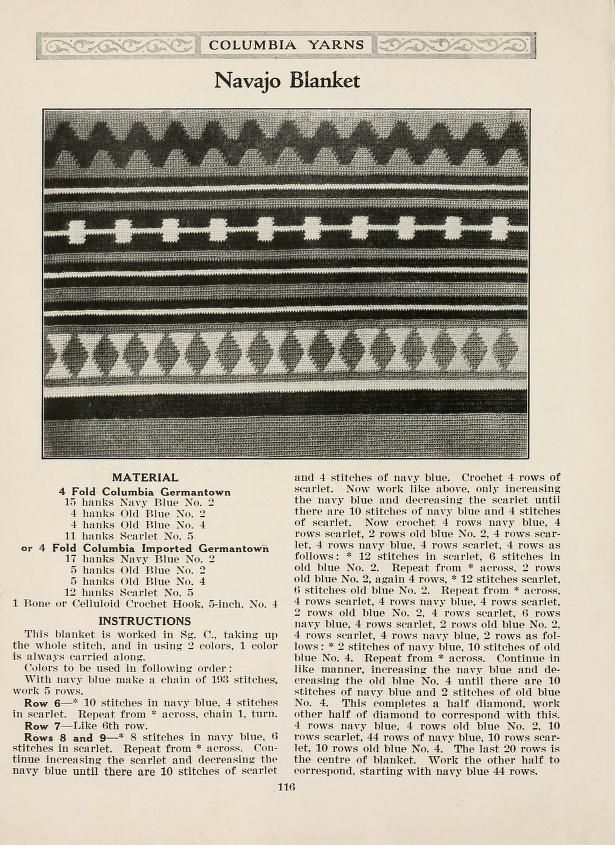 Vintage tapestry crochet pattern -- Photo shows half of blanket. Not ...