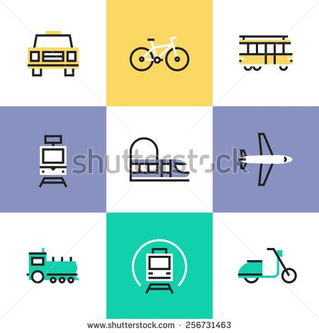 Flat line icons of various city transport, public ...
