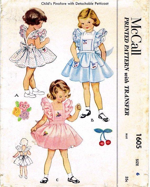 6 8 yrs Vintage Girl/'s Kitten Apron Embroidery Pattern ~ size 4
