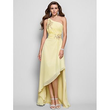 80f94f991cd3c6 A-Linie Prinzessin Ein-Schulter Asymmetrisch Chiffon Ball Formeller Abend  Kleid mitPerlenstickerei Applikationen Seitlich
