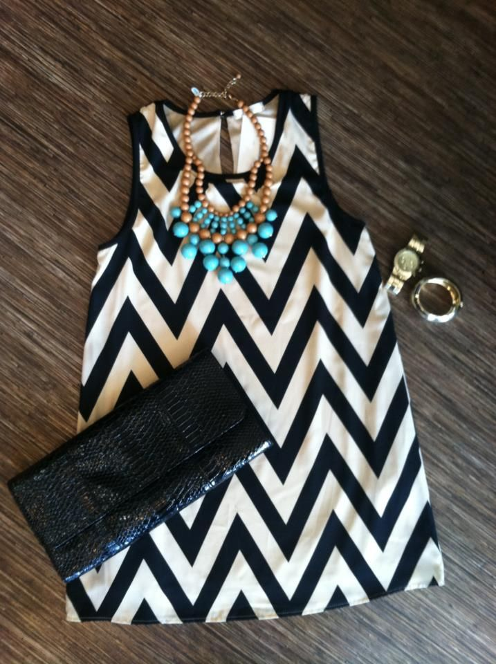 cute! love the chevron and the necklace.