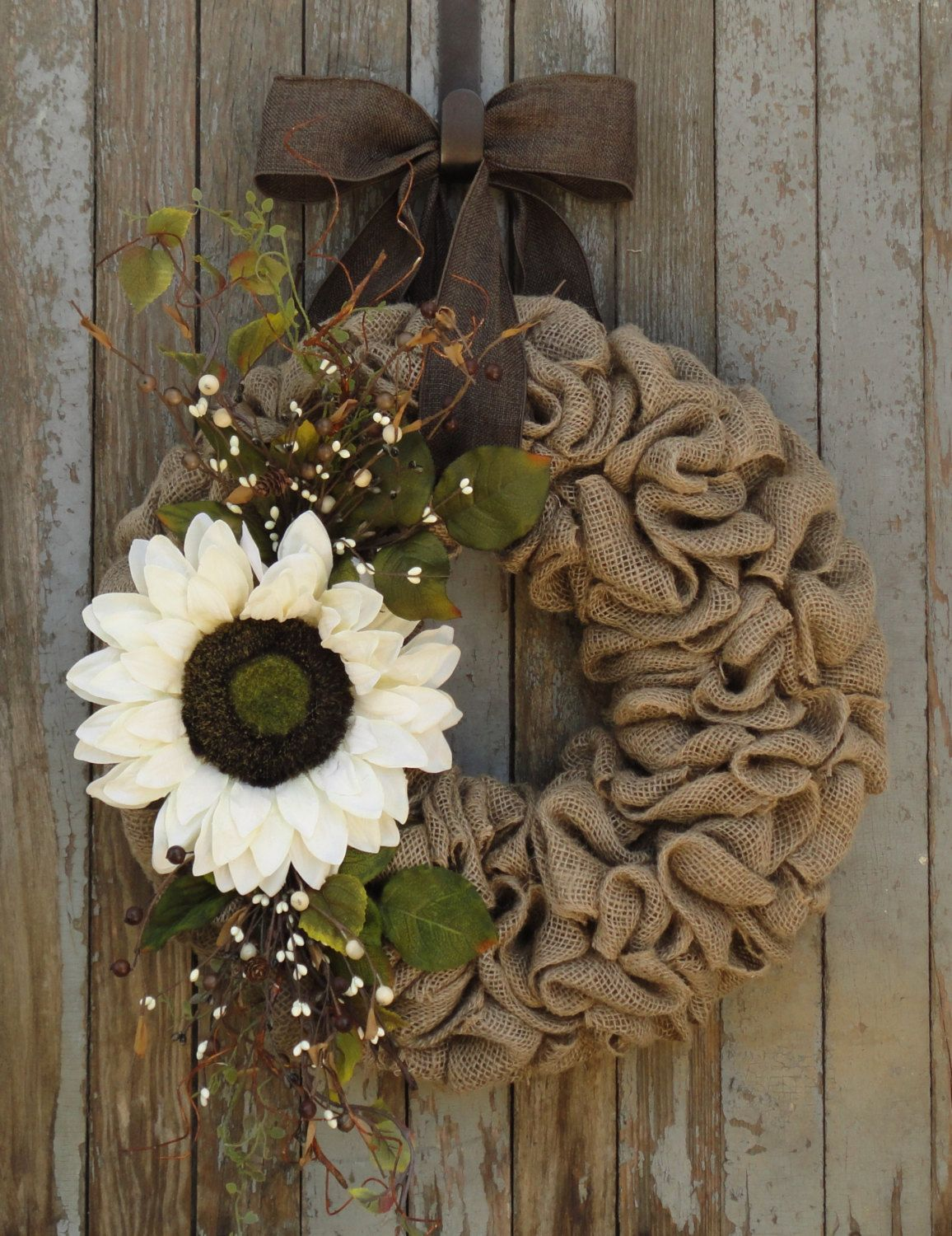 Ivory Sunflower Burlap Wreath Fall Burlap Wreath Sunflower Fall