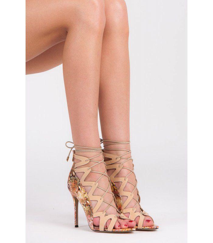 a41a6e07c581 Šnurovacie sandále Snake Print 5014-14BE