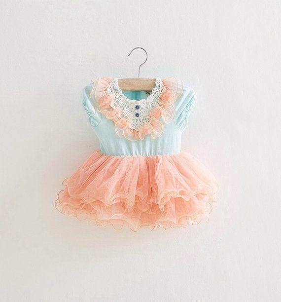 peach aqua toddler girls tutu dress vintage toddler girls