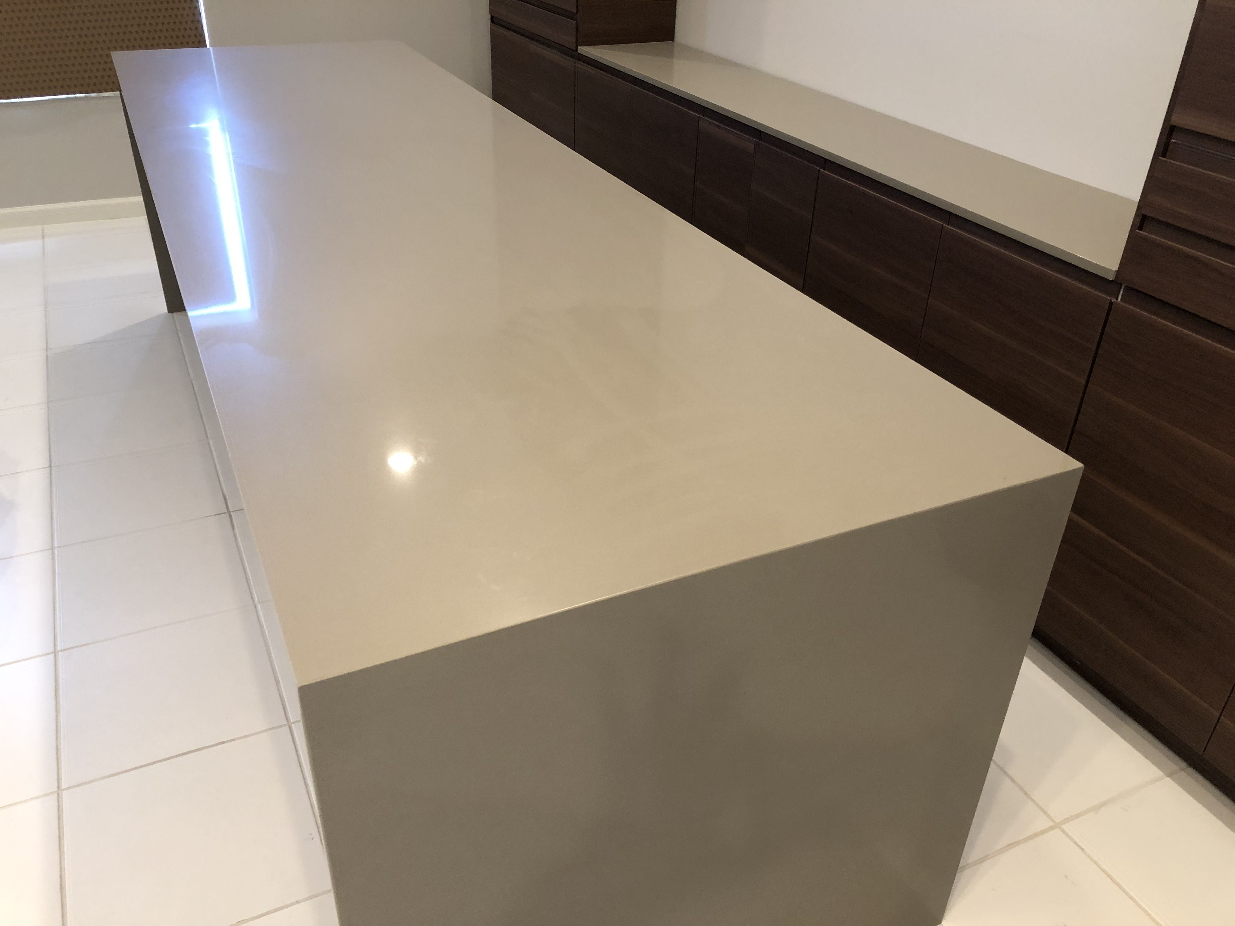 In This Desk Top We Fabricated And Installed Mitered Waterfall Edge Quartz Countertops In Both Ending Sides Of Countertops Quartz Countertops Waterfall Vanity
