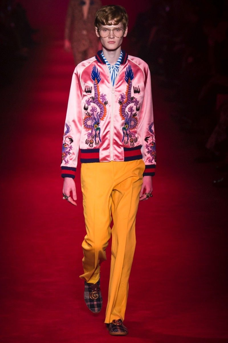 024beb14c Gucci embraces a splash of pink with its silk embroidered bomber jacket for  fall-winter 2016.