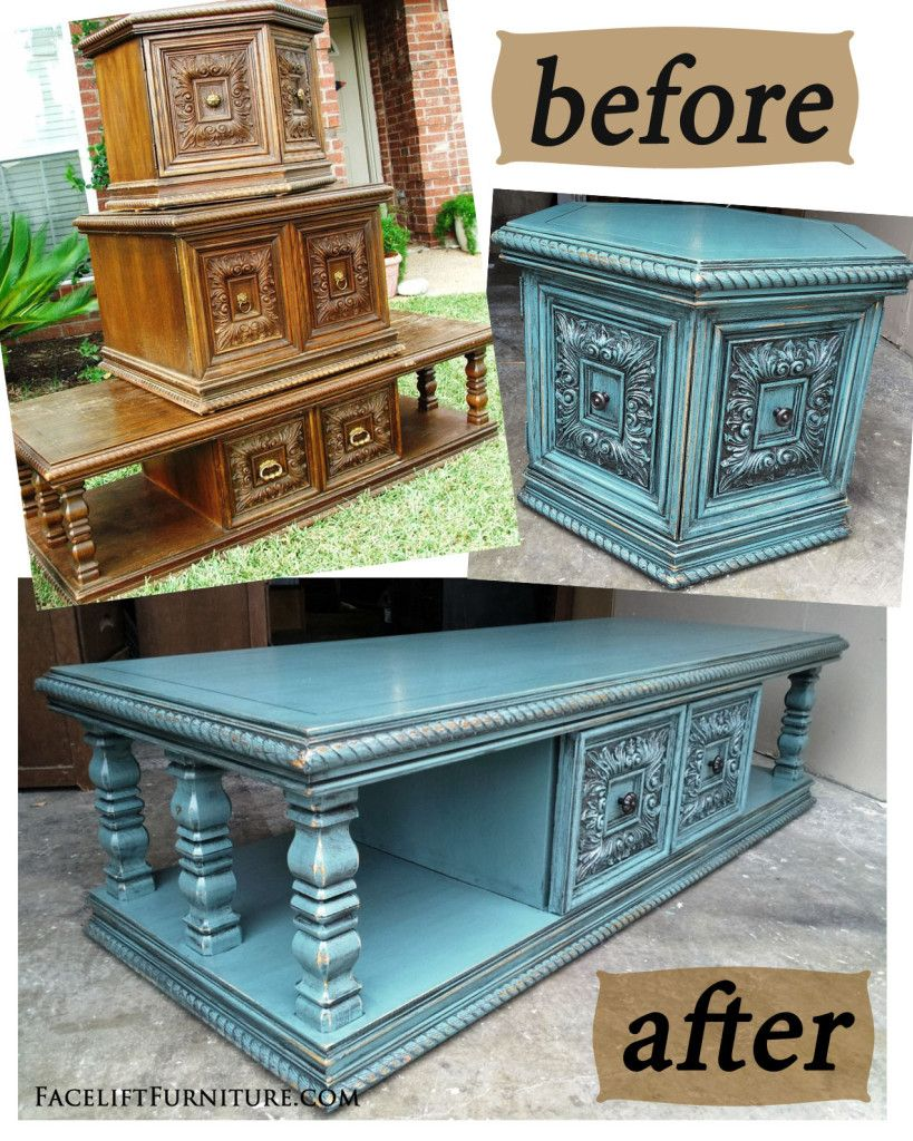 Painted furniture ideas before and after - Sea Blue Chunky Before After Facelift Furniture