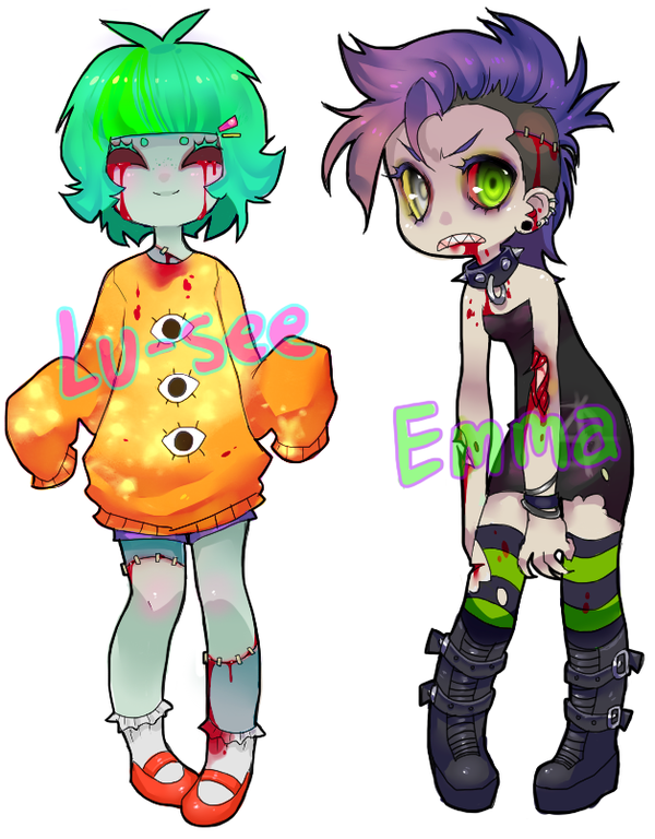 Zombie Gal Adoptables Sold By Tesazombie On Deviantart Cute Zombie Zombie Drawings Pastel Goth Art