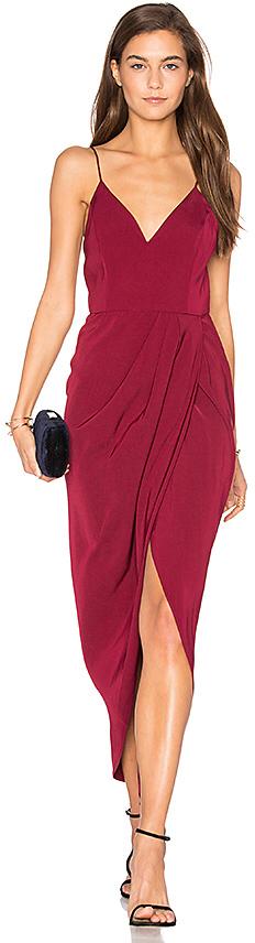 Shona Joy Core Cocktail Wrap Dress in Burgundy