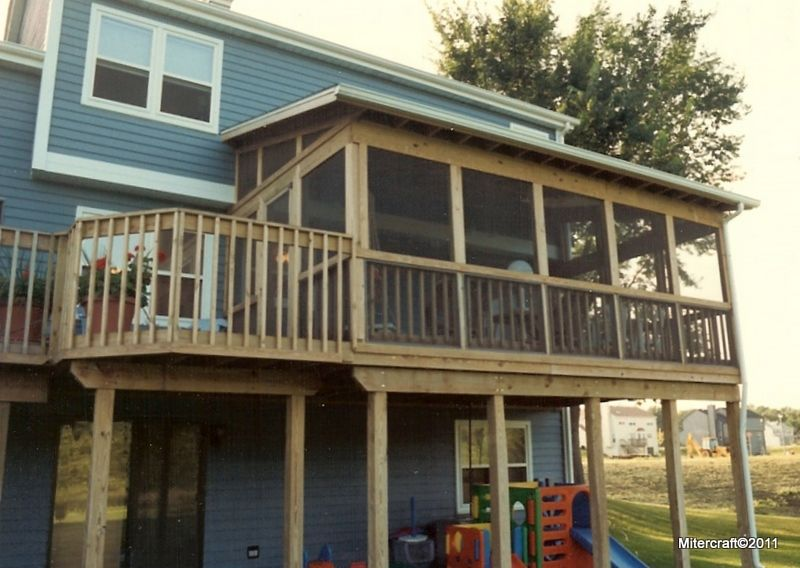Two story decks and porches shed roof screen porch and deck in pressure treated pine outdoor - Screen porch roof set ...