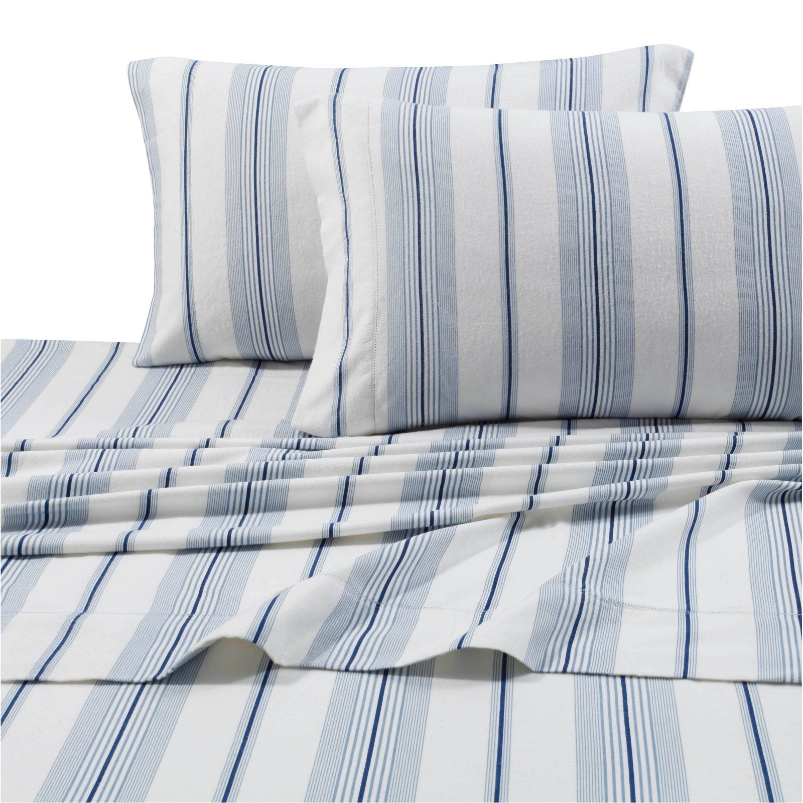 Printed Flannel 4 Piece Stripe Sheet Set by Tribeca Living