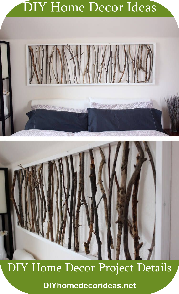 Simple framed twig homemade wall art diyhomedecorideas diy