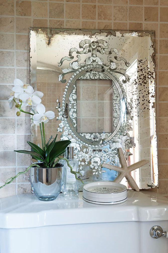 Beautiful Vintage Etched Mirror Schlafzimmer Wandspiegel