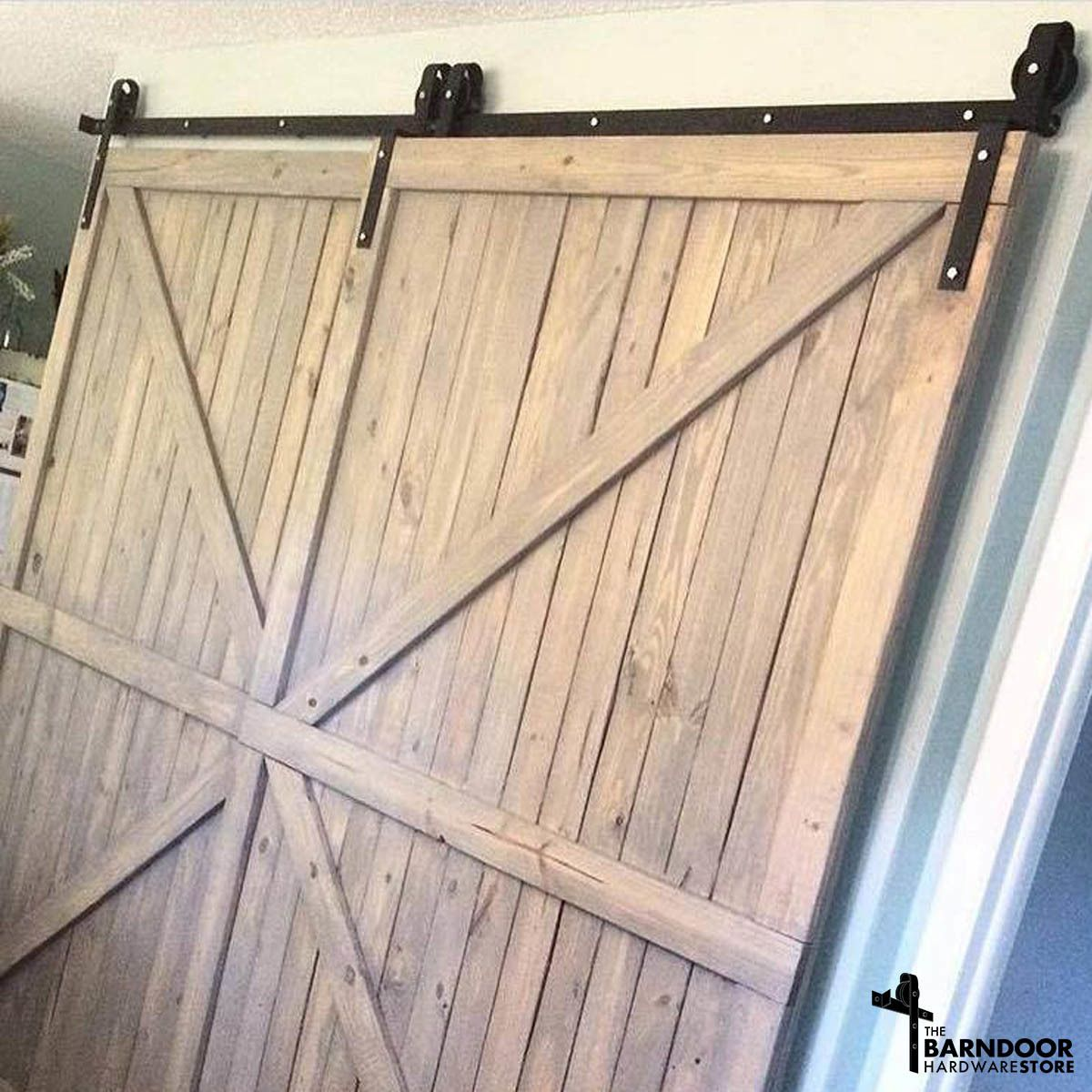 This Single Track Bypass Barn Door Hardware Kit Allows Two Doors To Over Lap Each Other So They Are Basically Alw Bypass Barn Door Garage Door Design Barn Door