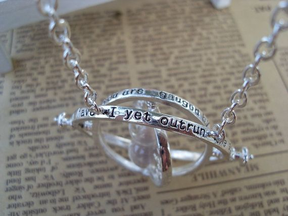 harry potter necklace time turner silver spins by weiqiao1118