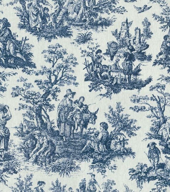 Waverly Home Decor Print Fabric Rustic Toile Navy Hi Res