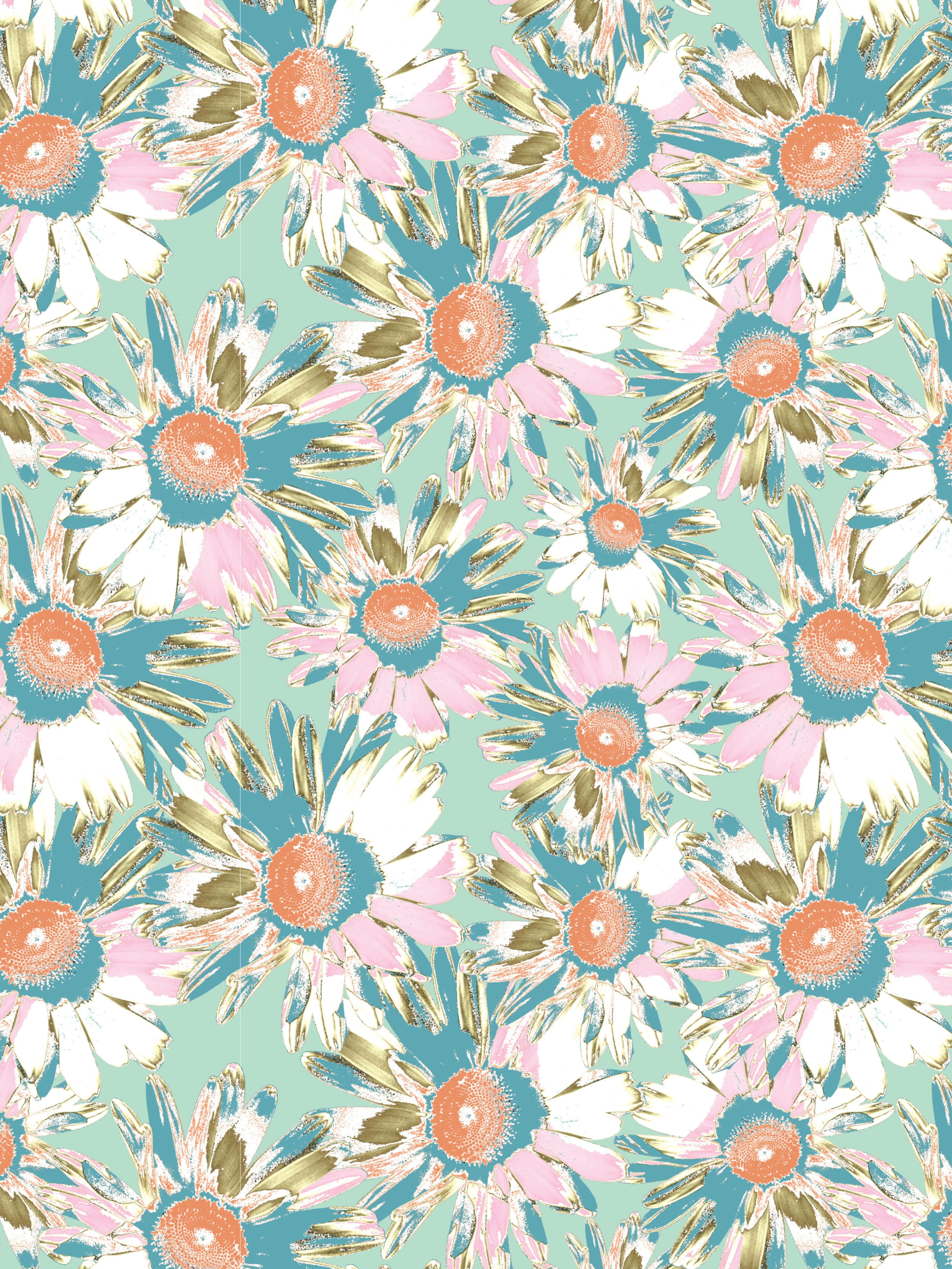 Wild Daisy Fabric - Mint - Organic Cotton Panama / Fat Quarter