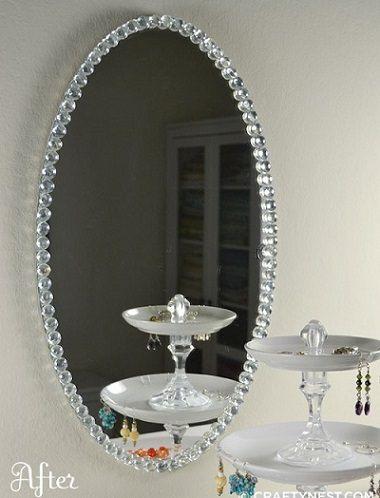 Espejo diy con cristales mirror coqueta pinterest - Cristales y espejos ...