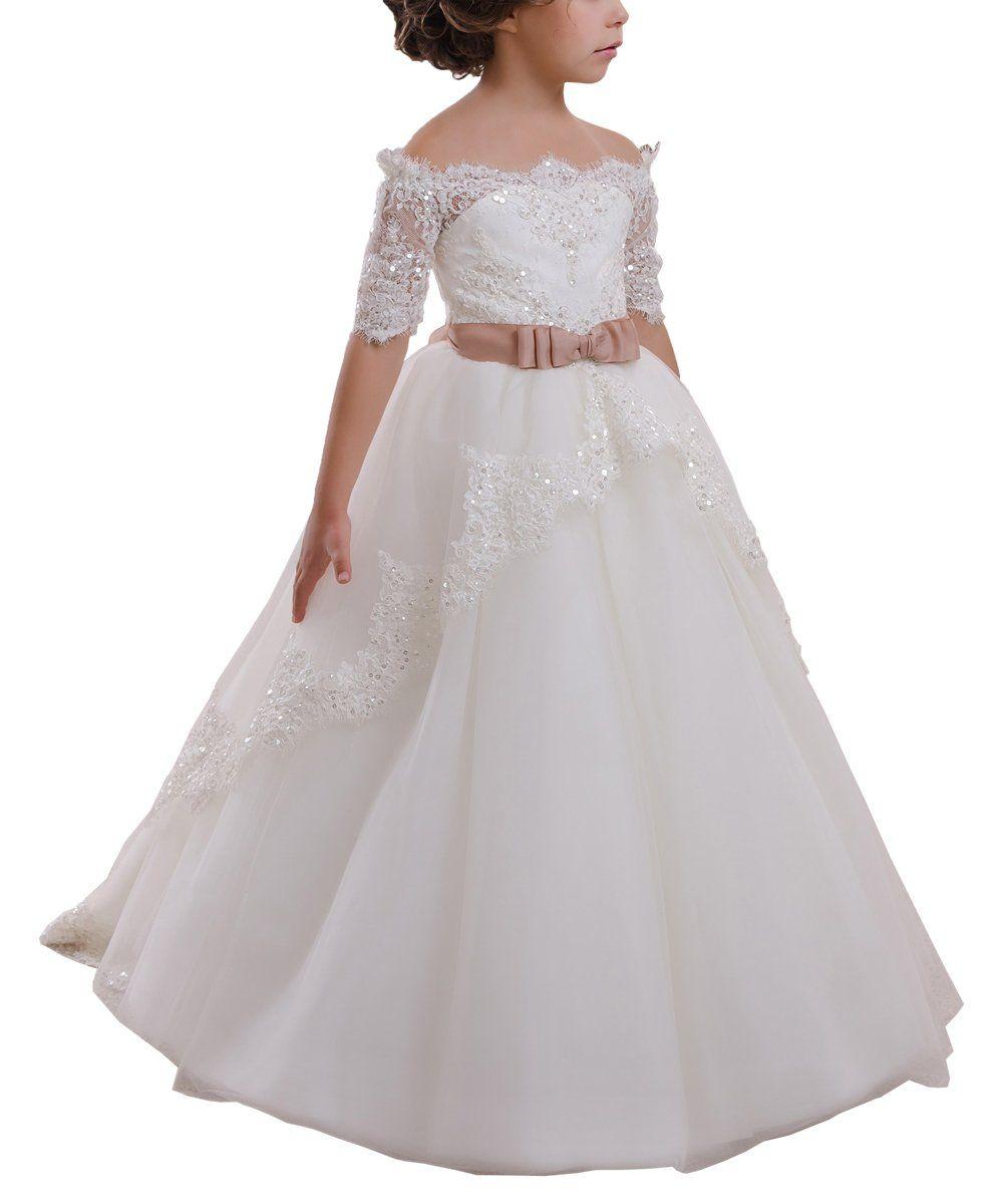 Elegant flower girl dress lace beading tulle ball gowns