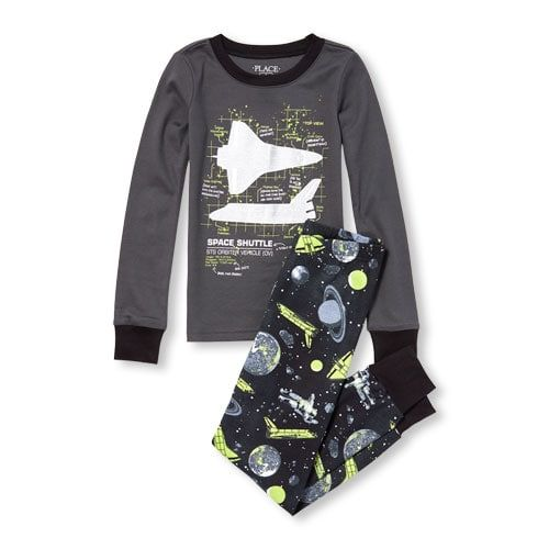 050988ceb Boys Long Sleeve Glow-In-The-Dark Space Shuttle Top And Printed ...