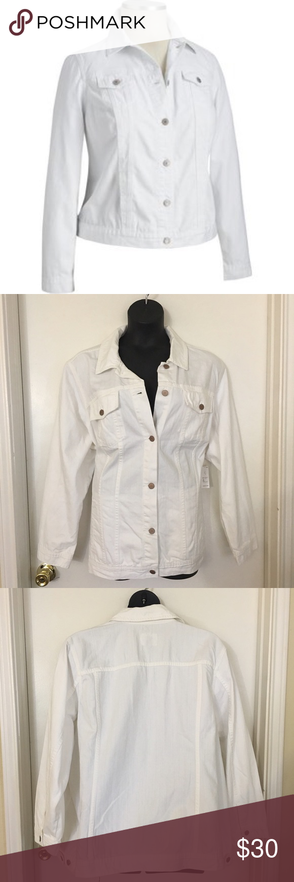 White Denim Jacket Great basic piece for any season! NWT - never worn.  Spread collar; six-button placket. Flap-button chest pockets. Contrast topstitching. Welt slant pockets in front. Old Navy Jackets & Coats Jean Jackets