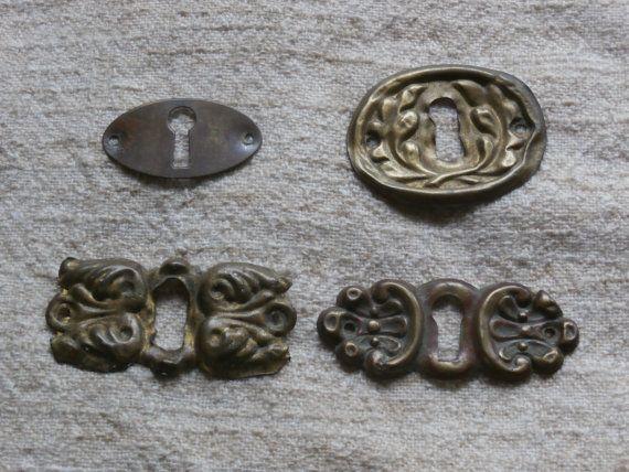 Four Brass Escutcheon Plates Skeleton Key Holes