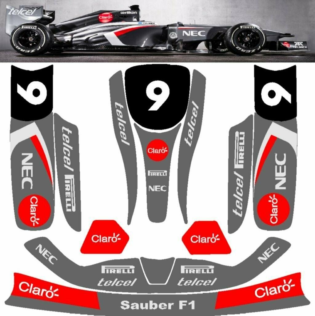 Sauber F1 Vinyl Kart Sticker Kit For Kg Unico Pods Nosecone Nassau Panel Sticker Kits Vinyl Pods [ 1027 x 1024 Pixel ]