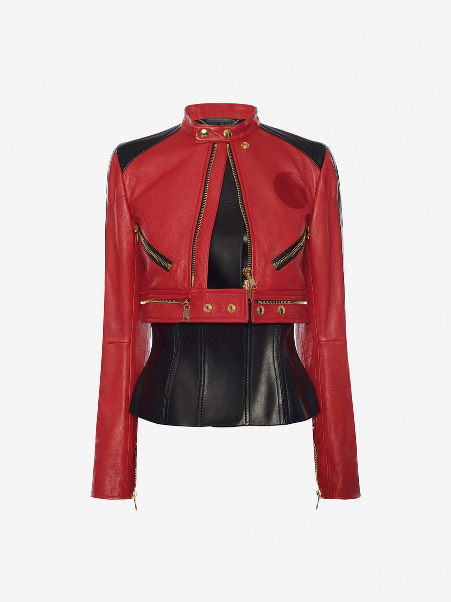 Alexander Mcqueen Leather Biker Jacket Leather Woman F Jacket Outfit Women Stage Outfits Clothes [ 1200 x 900 Pixel ]