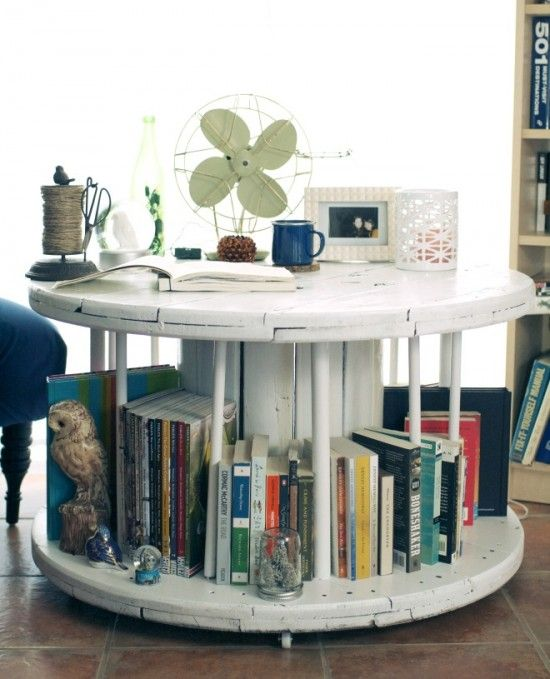 diy-home-library-spool-cable-table-book-table | diy | pinterest