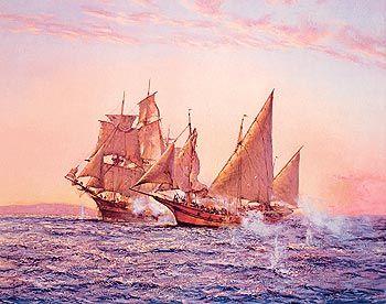 """""""The Corsair"""" by Montague Dawson. -"""