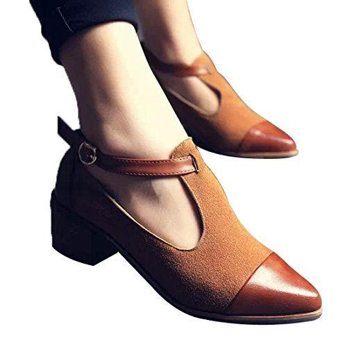 Mary Jane Womens Retro Brogue Sweet T-Strap Ankle Strap Low Heels Oxfords Shoes